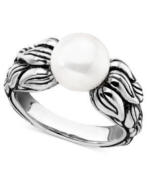 Sterling Silver Ring, Cultured Freshwater Pearl Leaf