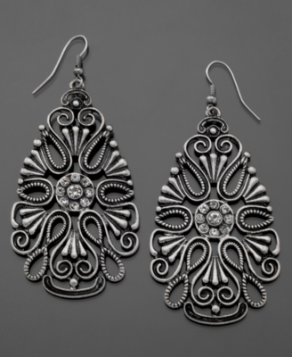 GUESS Earrings, Silvertone Cut-Out