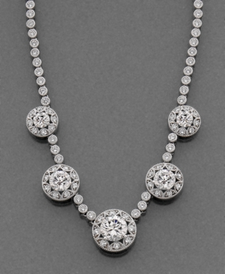 CRISLU Sterling Silver Necklace, Cubic Zirconia (9-2/5 ct. t.w.) - Crislu