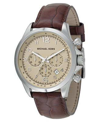michael kors s brown leather 45mm mk8115