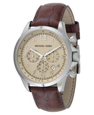 Michael Kors Watch, Men's Brown Leather Strap 45mm MK8115