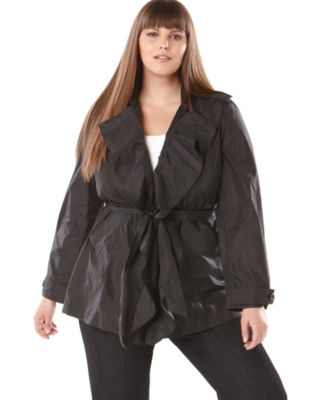 INC International Concepts Plus Size Jacket, Long Sleeve Ruffled