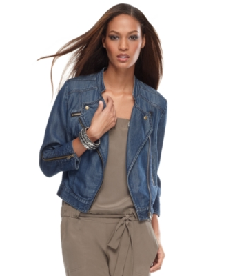 INC International Concepts Petite Jacket, Denim Motorcycle