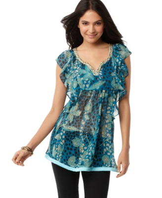 NY Collection Tunic, Ruffle Leopard Print Beaded V-Neck