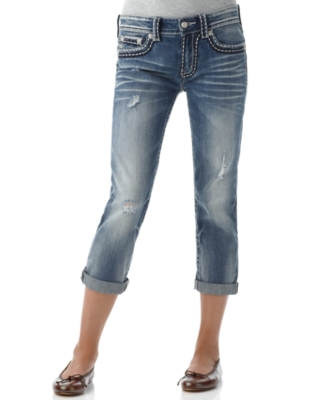 Miss Me Jeans, Slim Boyfriend Rolled Crop Medium Wash
