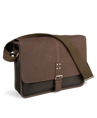 Perry Ellis Bag, Leather Trimmed Flap Messenger Bag