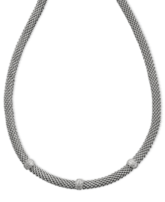 Sterling Silver Necklace, Diamond Mesh (1/4 ct. t.w.)