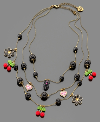 Betsey Johnson Necklace , Cherry Illusion - Layered Beaded Necklace