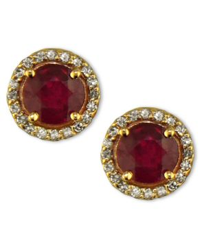 Effy Collection 14k Rose Gold Earrings, Ruby (2 ct. t.w.) and Diamond (1/5 ct. t.w.)