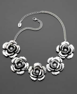 GUESS Necklace, Silvertone Mixed Metal and Glass Pearl Flower - Statement Necklace
