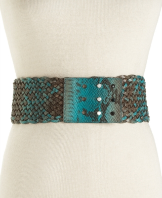 Rachel Rachel Roy Belt, Wide Braid with Stud Closure