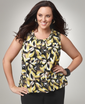 Alfani Plus Size Top, Printed Braided Scoopneck