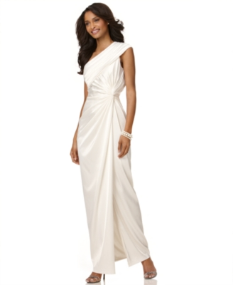 Adrianna Papell Dress, One Shoulder Draped Gown