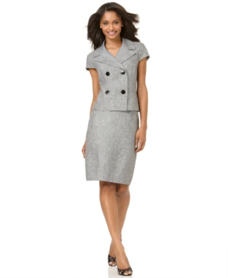 Calvin Klein Suit, Cap Sleeve Double Breasted Jacket and Pencil Skirt
