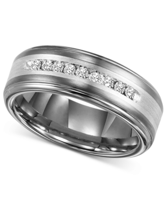 Men's Tungsten and Sterling Silver Ring, Diamond (1/4 ct. t.w.) (Size 8-15)