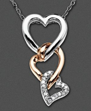 14k Two Tone Gold Pendant, Diamond Accent Triple Heart
