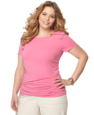 Michael Kors Plus Size Top, Short Sleeve Zipper Detail