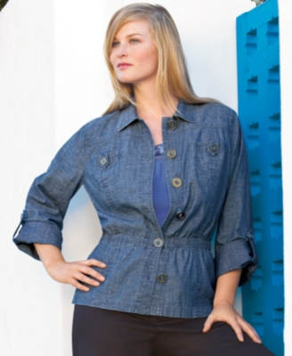 Charter Club Plus Size Jacket, Rolled Sleeve Chambray