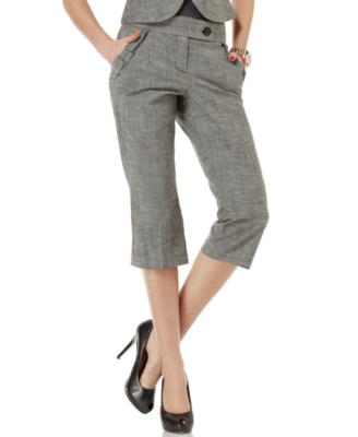 BCX Pant, Ruffle Straight Cropped Trousers