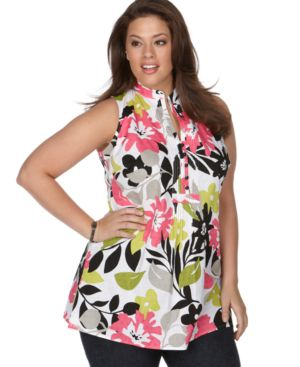 Charter Club Plus Size Top, Graphic Garden Sleeveless Pintucked Tunic