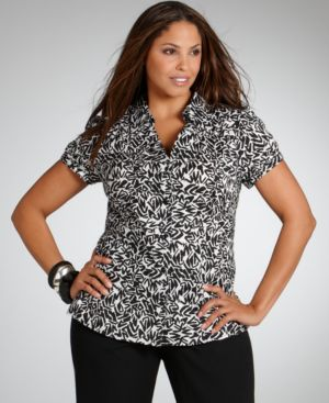 Alfani Plus Size Shirt, Short Sleeve Graphic Print