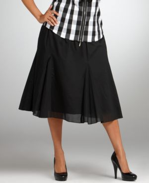 Alfani Plus Size Skirt, Knit Waist Cotton Pleated