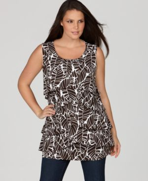 Style&co. Plus Size Top, Leaf Print Tiered Tunic Tank