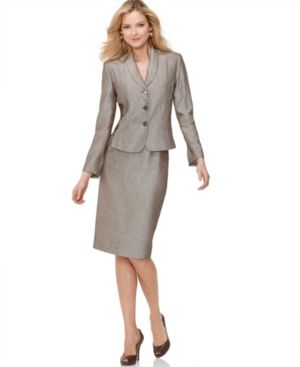 Suit Studio Suit, Seamed Three Button Jacket & Pencil Skirt