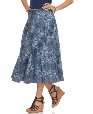 NY Collection Skirt, Floral Print Chambray Belted