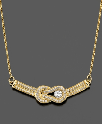 Everlon Pendant, Diamond Knot 14k Gold (1/2 ct. t.w.) - Gold Necklaces
