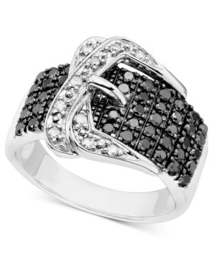 Diamond Ring, Sterling Silver Black and White Diamond Buckle (3/4 ct. t.w.)