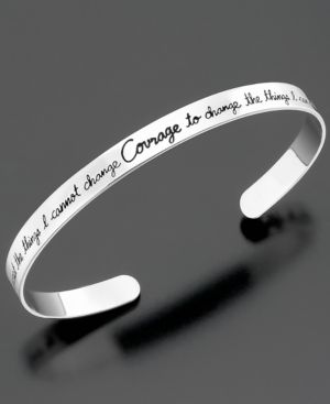 Sterling Silver Bracelet, Courage Wide Cuff