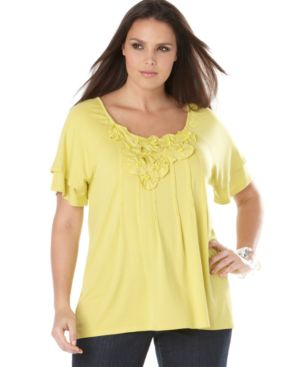 INC International Concepts Plus Size Top, Short Sleeve with Applique