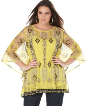 INC International Concepts Plus Size Tunic, Sheer Printed with Cami