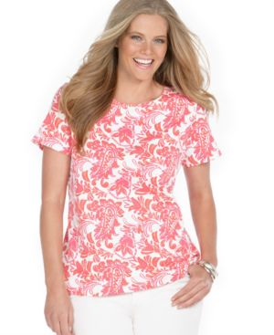 Charter Club Plus Size Top, Short Sleeve Floral