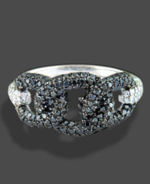 18k White Gold Ring, Black and White Diamond Knot (1 ct. t.w.)