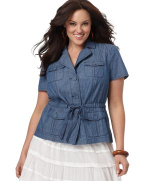 Charter Club Plus Size Jacket, Short Sleeve Chambray