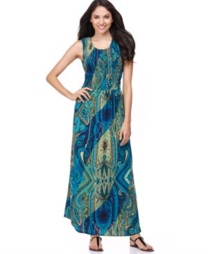 Elementz Dress, Sleeveless Paisley Print Smocked Bodice Maxi