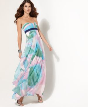 BCBGMAXAZRIA Dress, Strapless Empire Waist Gown