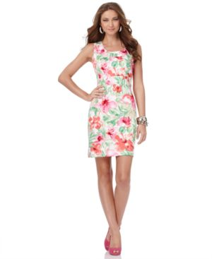 Jones New York Signature Dress, Sleeveless Floral Sheath