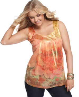 One World Plus Size Top, Floral Print Satin Trim Beaded Tank - One World