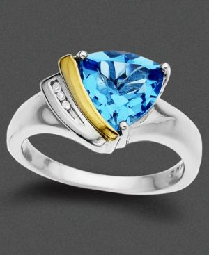 14k Gold and Sterling Silver Ring, Blue Topaz (2-3/4 ct. t.w.) and Diamond Accent