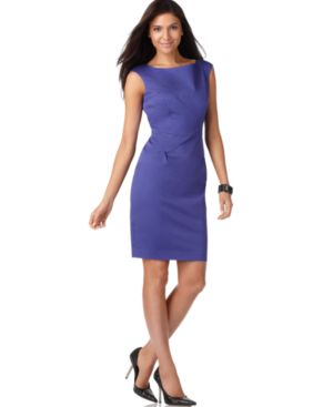 Nine West Dress, Boat Neck Sheath with Upper Back Cut-Out