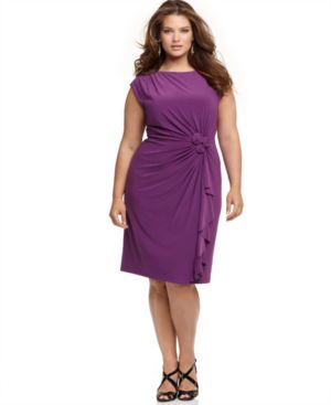 Jones New York Plus Size Dress, Cap Sleeve Draped with Rosettes