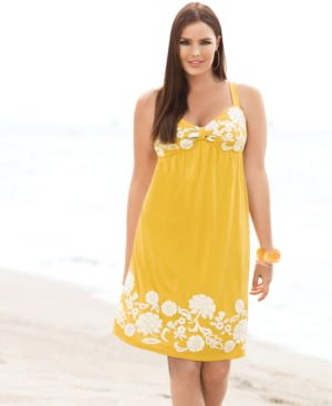 INC International Concepts Plus Size Dress, Sleeveless Embroidered Sweetheart - Clothes