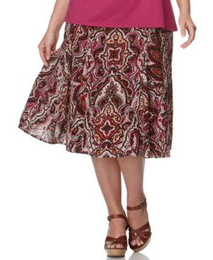 Charter Club Plus Size Skirt, Printed Smocked Waist