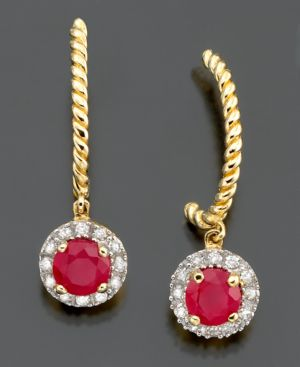 14k Gold Earrings, Ruby (1/2 ct. t.w.) and Diamond (1/10 ct. t.w.) Circle Drops