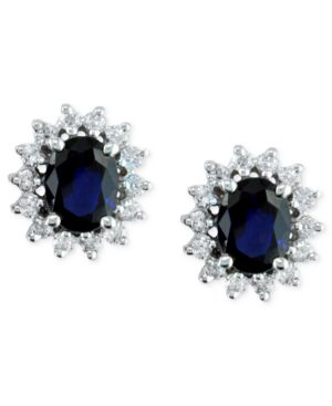 14k White Gold Earrings, Sapphire (2-7/8 ct .t.w.) and Diamond (3/4 ct. t.w.)