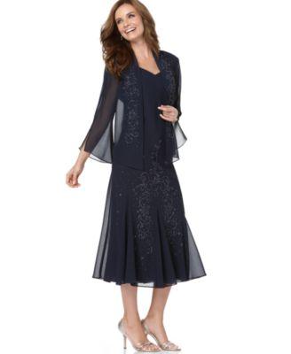 R&M Richards Dress and Jacket, Bead Embellished