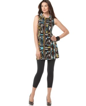 Alfani Tunic, Sleeveless Funnel Neck Printed